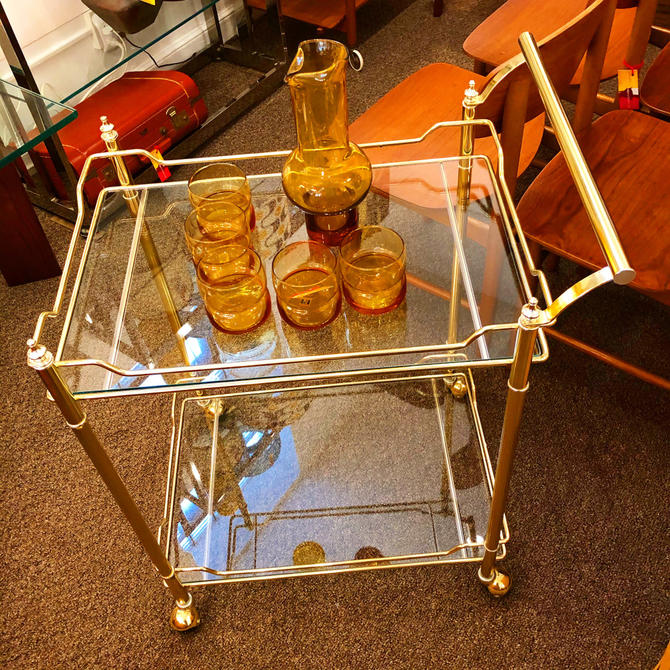 Hollywood Regency Brass Serving Cart