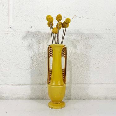 True Vintage Art Deco Shawnee Pottery McCoy Style Bud Vase Handles 1950s 50s Gold Golden Mustard Yellow Cornucopia USA 1178 Mid-Century Boho by CheckEngineVintage