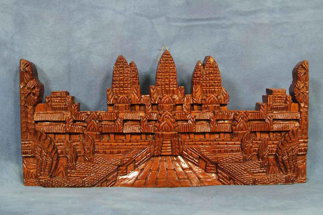 Vintage 15 Quot Wooden Angkor Wat Plaque Carving Temple