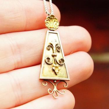 """Antique 14K Gold Pendant, Ornate Rectangular Teardrop Pendant, Gold Wore Design, Fleur De Lis, Victorian Necklace Pendant, 1 3/4"""" Long by shopGoodsVintage"""