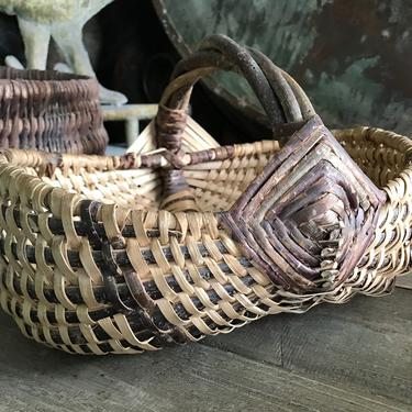 Rustic French Market Basket, Willow Wicker Flower Basket, Gathering, Bentwood Handle, Farmhouse, Garden Basket by JansVintageStuff