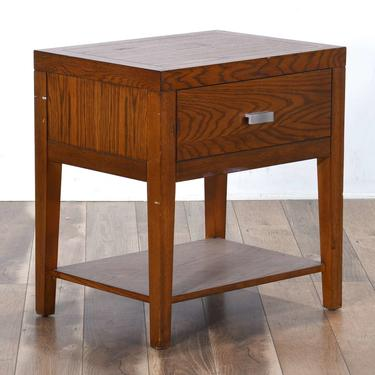 Contemporary Style Oak Finish Nightstand