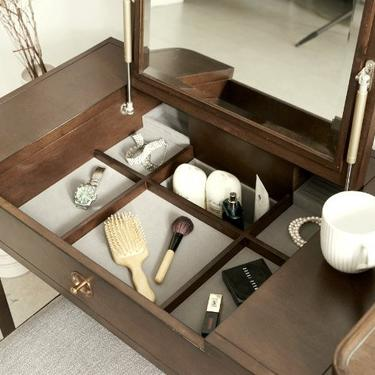 Walnut Mid Century Mini table, Dressing table; Mid Century Dresser, Mid Century Vanity  - Bella Collection - Ekais by Ekais