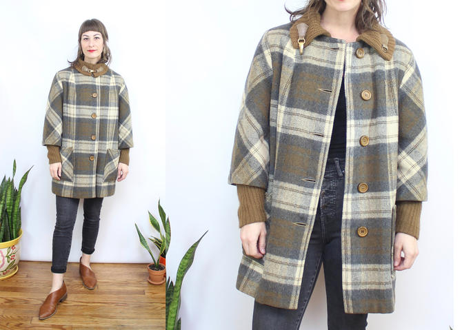Vintage 60's 70's Green and Brown Plaid Swing Coat / 1960's 70's Neutral Plaid Wool Plaid Coat / Women's Size Small Medium by RubyThreadsVintage