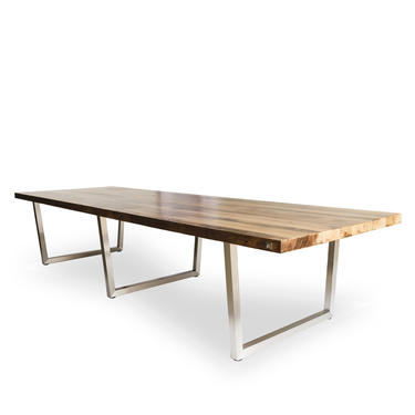 """Wood Conference table in 1.65"""" thick white oak reclaimed wood and stainless steel legs in your choice of size and finish. by UrbanWoodGoods"""