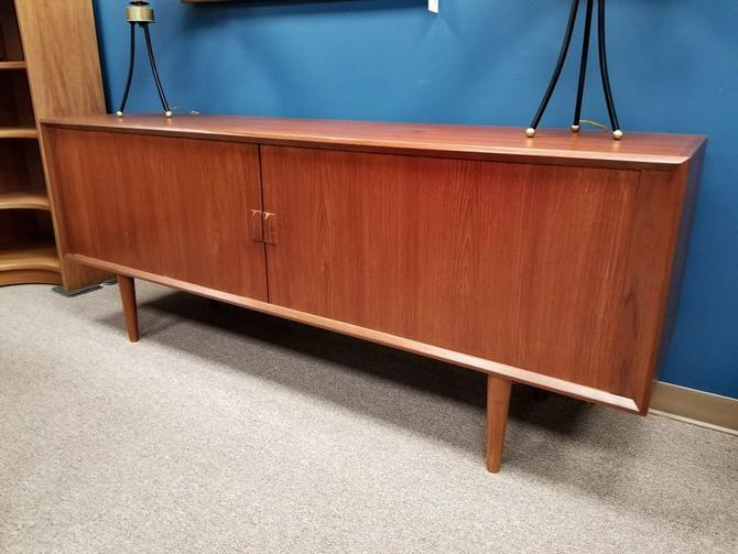 "Danish Modern 80""long teak credenza with tambour doors by Faarup"