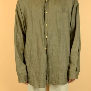 Vintage Brown Linen Long Sleeve Button Down Shirt Beige  Unisex Large XL 2XL by MAWSUPPLY