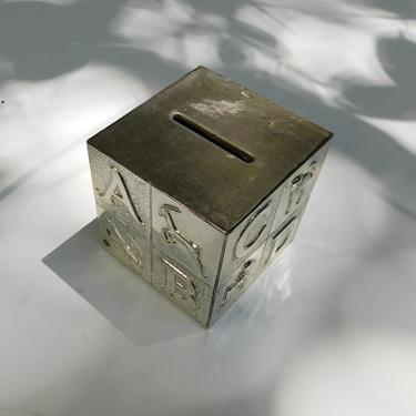 Vintage Silver ABC Piggy Bank
