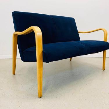 mid century modern Thonet attributed blue velvet bentwood framed 2 seater loveseat by AtomicJunkiesGallery