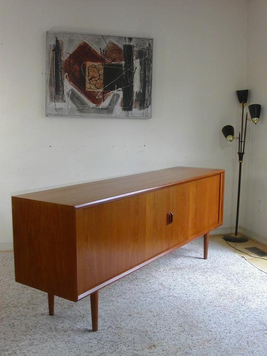 Danish Modern Teak Tambour Door Credenza By Sven A. Larsen for Faarup Mobelfabrik MCM Mid-Century Sidebaord Buffet Rosewood by RetroSquad