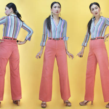 Vintage 1970s DITTOS Pink Flamingo color High Waist Flared Pants by TheeAppleBoutique