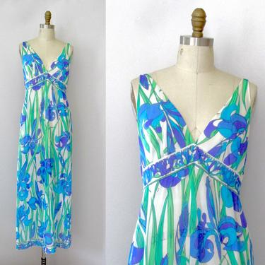 EMILIO PUCCI Formfit Rogers Vintage 60s Nightgown | 1960s Floral Psychedelic Print Loungewear Gown, 70s 1970s Designer Lingerie | Size Small by lovestreetsf