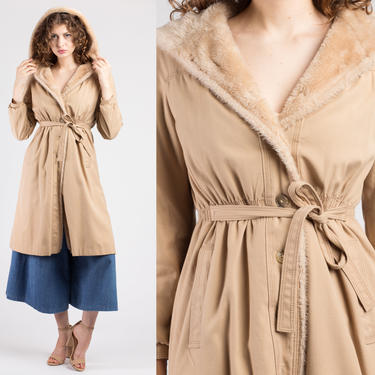 70s Khaki Hooded Faux Fur Trim Coat - Petite Small | Vintage Bonders Double Button Up Long Belted Winter Jacket by FlyingAppleVintage