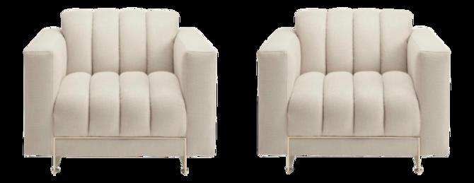 Caracole Signature Modern White and Gold the Well Balanced Club Chairs Pair