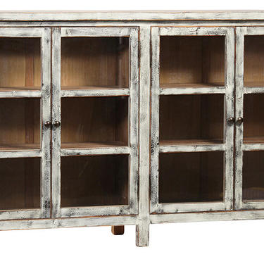 """84"""" Light Gray Sideboard with Glass Doors by Terra Nova Furniture Los Angeles by TerraNovaLA"""