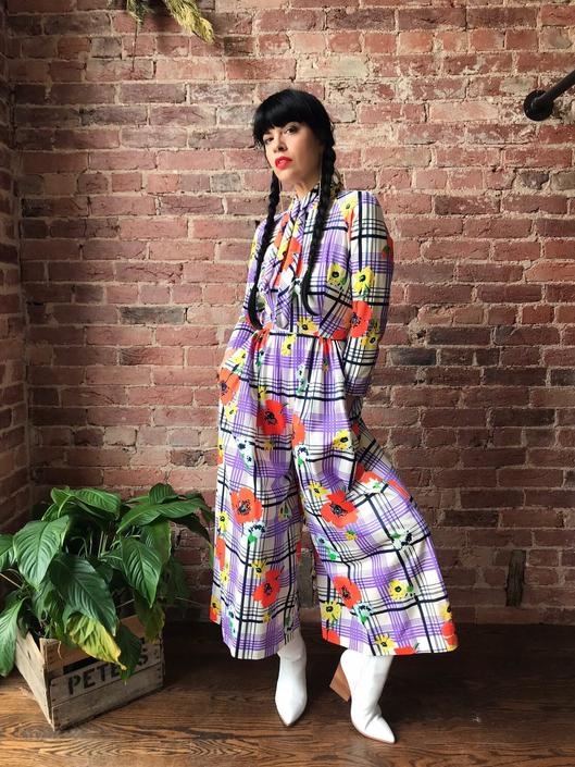 vintage 70s floral and plaid print jumpsuit | wide leg polyester long sleeve jumper with necktie by LosGitanosVintage