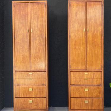 Drexel Consensus Pecan & Brass Storage Cabinet