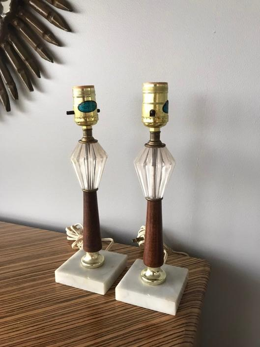 Pair of Mid Century quartz and wood small table lamps by CN Burman Co. by UrbanInteriorsBalt