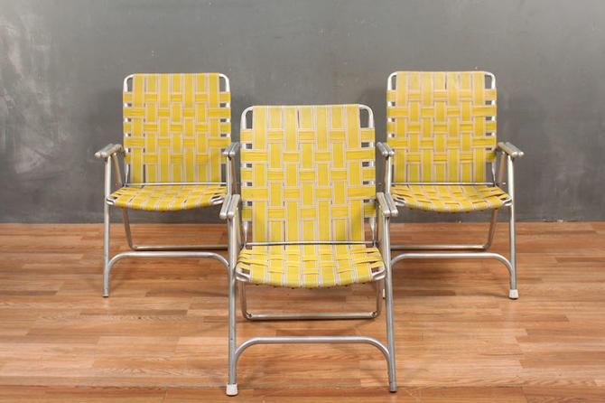 Retro Yellow Woven Straps Folding Armchair