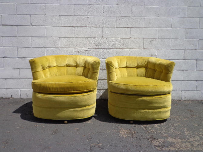 Fabulous 2 Swivel Chairs Platform Tufted Armchair Tub Barrel Back Mid Customarchery Wood Chair Design Ideas Customarcherynet