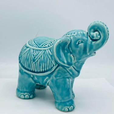 """Ceramic Gloss Finish Turquoise Elephant Figurine- 6"""" X 7.5"""" X 4"""" by JoAnntiques"""