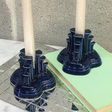 Vintage Candlestick Holders Retro 1950s Fiestaware + Pyramids + Cobalt Blue + Ceramic + Set of 2 + Post 86 + Candle Holders + Home Decor by RetrospectVintage215