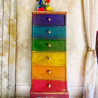 Vintage Rainbow Lingerie Dresser | Lingerie Chest | Red Blue Yellow Green Blue Jewelry Armoire by HouseofAalia