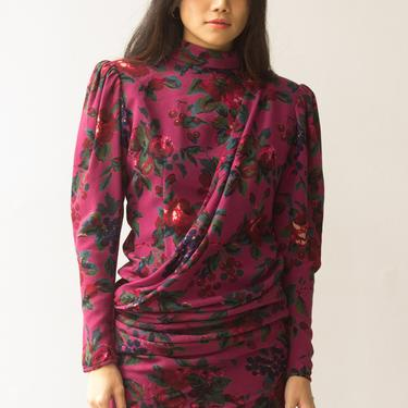 1980s Ungaro Parallel Paris Cherries and Roses Wool Crepe Dress by waywardcollection