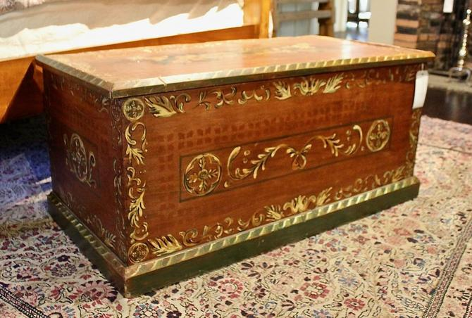 19th Century Painted Dowry Chest with Ditty Box