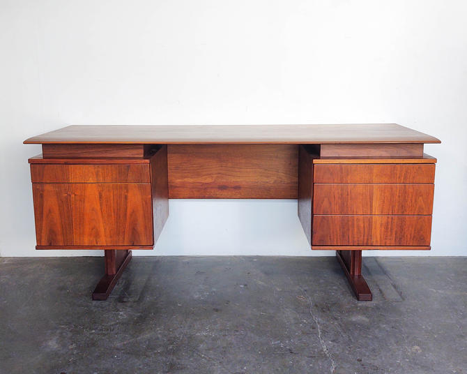 Mid Century Walnut Floating Cantilever Desk by IridiumInteriors