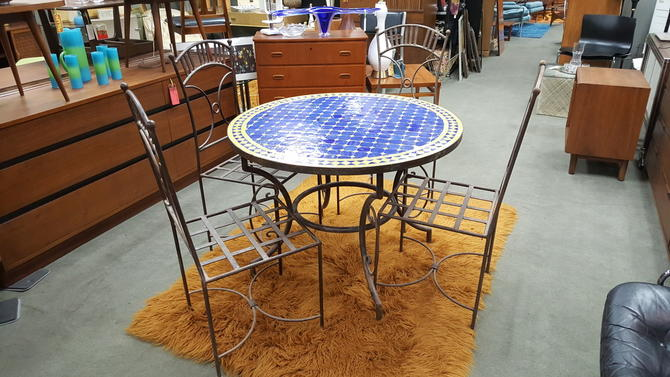 Vintage Metal Patio Set With A Round Concrete Table Top