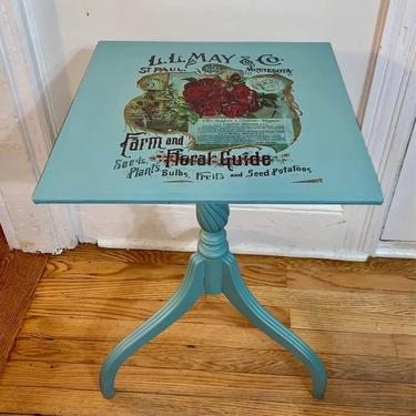 Vintage Nostalgia Robins Egg Blue Accent End Table