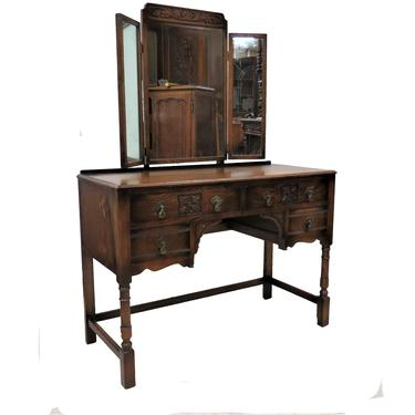 Vanity Makeup Dresser   Antique English Kneehole Dresser With Triple Mirrors by PickeryPlace