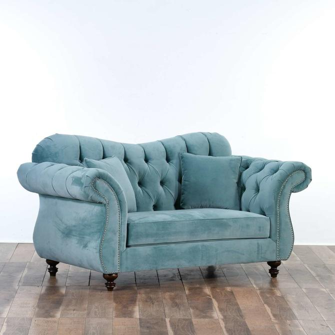 Bella Caribbean Teal Blue Custom Made Tufted Loveseat