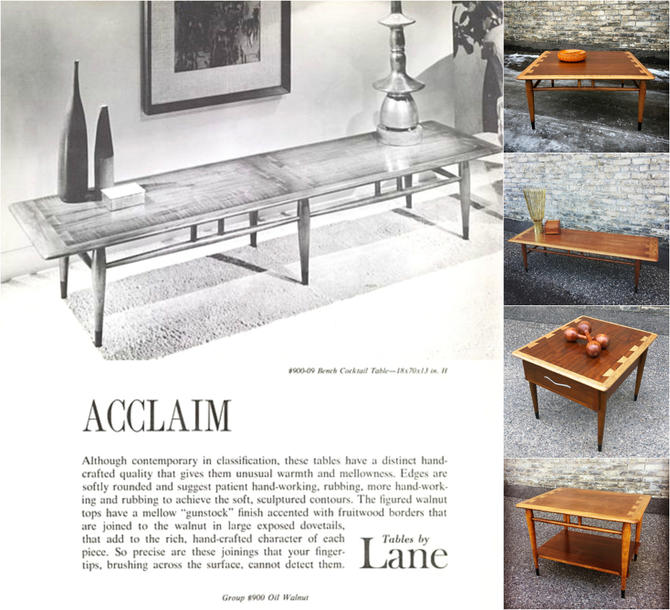 Iconic Lane Acclaim Coffee + Accent Tableslane Furniture's Acclaim Series Was One Of The Most Successful Furniture Lines In The 1960s For Good Reasons: Versatile Styling, Quality Materials And Exceptional Craftsmanship. The Enduring Design Is As Popular Today As It Was In Its Late 1950s Through Mid-1960s Heyday. Lane Acclaim Square Coffee Table