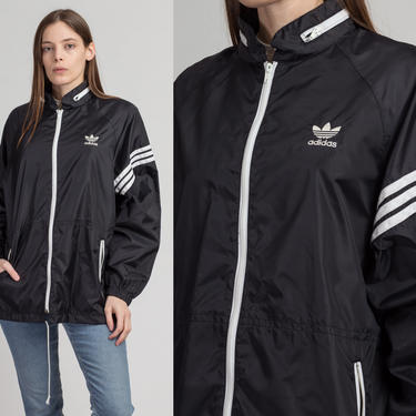 Vintage Adidas Descente Windbreaker - Men's Large | Trefoil Logo Black White Striped Streetwear Track Jacket by FlyingAppleVintage