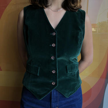 70's Green Velvet Vest by laloupevintage