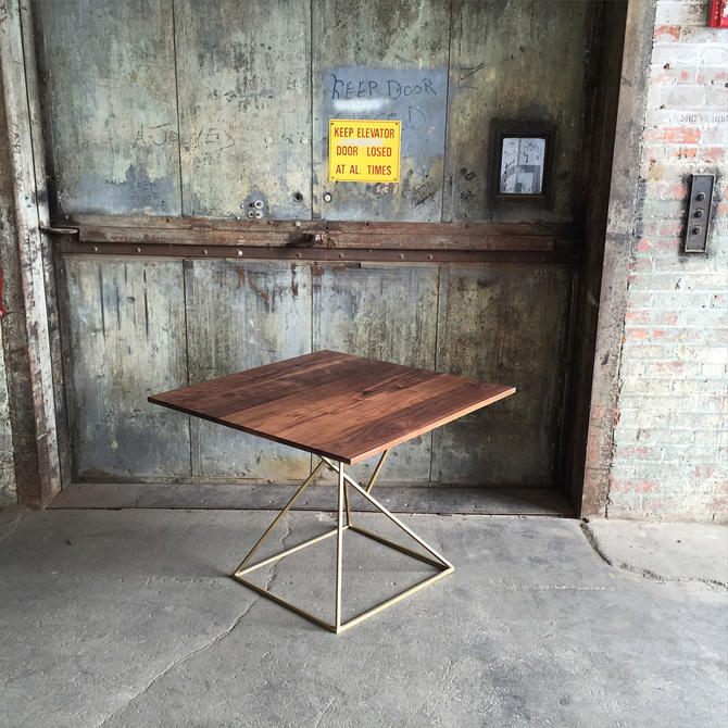 Modern Geometric Dining Table with Brass Base and Solid Walnut Top by PWHFurniture