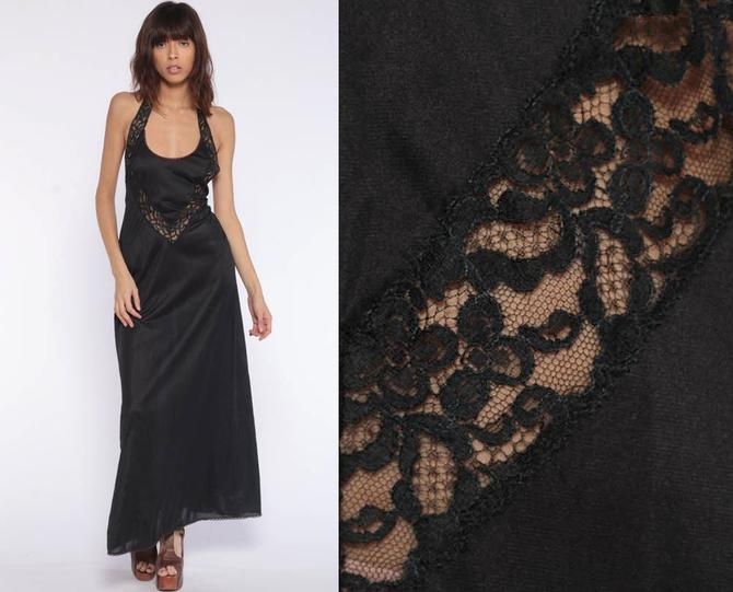 1ac74b091585 Black Nightgown Slip Dress 70s Maxi LACE Boho SHEER Lingerie HALTER Neck  Goth Backless Bombshell Pinup