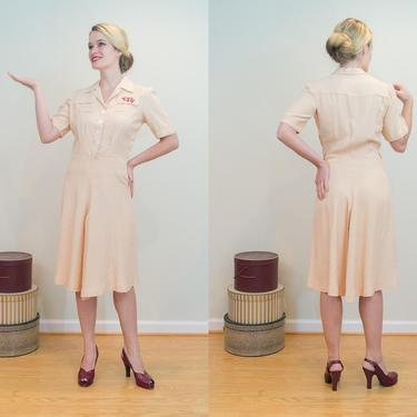 SALE PRICE 1930s Vintage Dress - Fabulous Creamy Rose Dress with Hebrew Pocket Embroidery by DomesticatedPinup