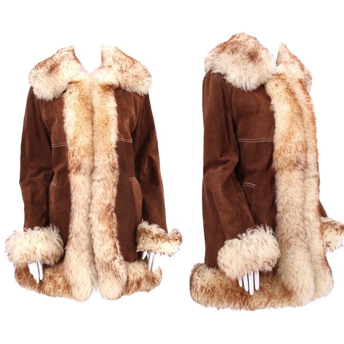 70s PENNY LANE brown suede & shearling trim coat L / vintage 1970s almost famous COAT fur jacket Large by ritualvintage