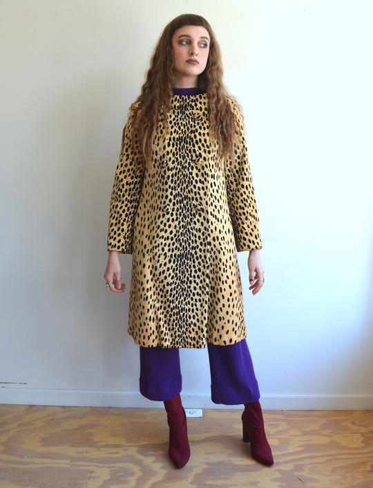 56b02d634443 Vintage 60s Cheetah Print Faux Fur Coat/ 1960s Mod Animal Print ...