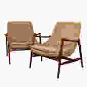 Sculpted Pair Danish Modern Teak Accent Chairs