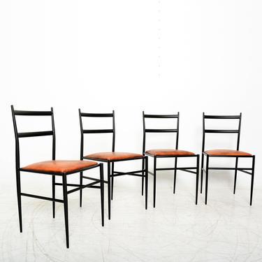 Midcentury Modern Gio Ponti Superleggera Leather Italian Chairs- Set of 4 by AMBIANIC