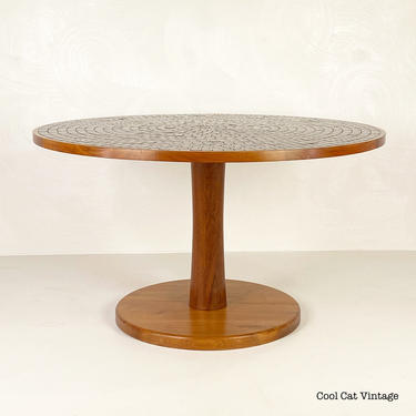 Marshall Studios Walnut Tiled Top Dining Table by Jane and Gordon Martz, Circa 1960s - Please see notes on shipping before you purchase. by CoolCatVintagePA