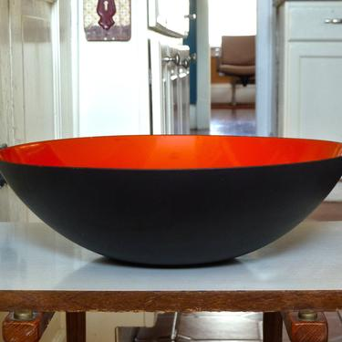 Mid Century Modern Krenit Enameled Steel Bowl in Burnt Orange Red and Matte Black by Herbert Krenchel ca 1950s by FlyTimesVintage