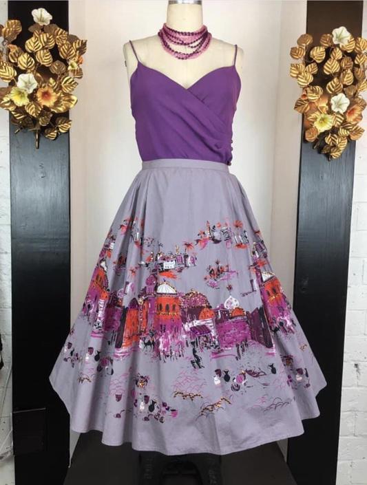 Novelty print skirt, vintage 90s skirt, Bernardo skirt, Millworth Casbah reproduction, size large, purple cotton skirt, 31/32 waist by BlackLabelVintageWA