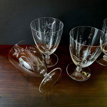 4 Vintage Etched or Cut Glass Iced Tea, Wine, Drinking Glasses or Goblets - Footed or Pedestal, Thin lip, Hand Cut, Grass and Berry pattern by VenerablePastiche