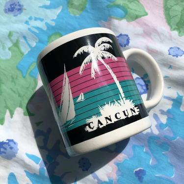 Vintage 80s Cancun Ceramic Mug, Miami Vice Inspired Beachy Tropical Vibes, Palm Trees and Sailboats with Pastel Pink and Blue Stripes by AMORVINTAGESHOP