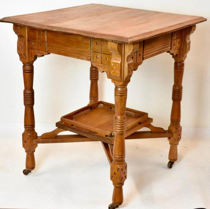 Victorian Era Oak Occasional Side Table on Casters by BigWhaleConsignment